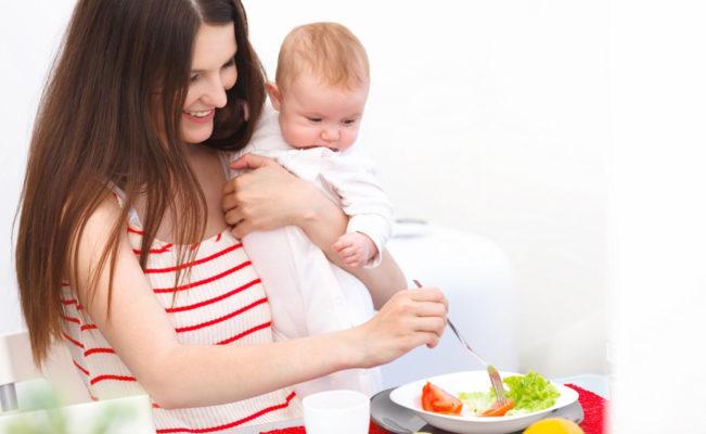 lactating mom eats