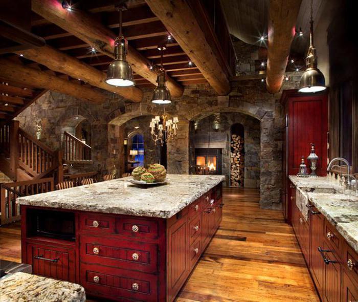 совмещенная кухня в деревянном доме