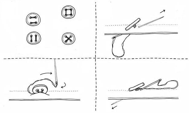 1488279 Как правильно пришить пуговицу