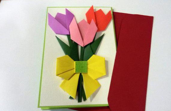 Оригами открыток на 8 марта