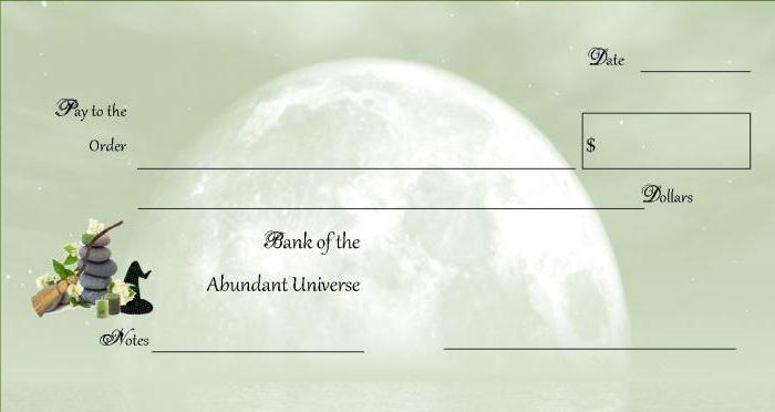 денежная магия чек изобилия для банка вселенной