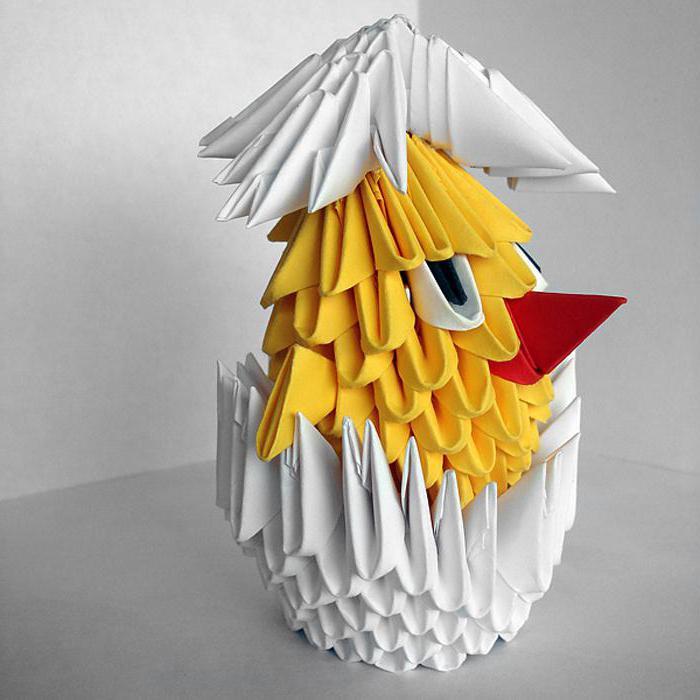 модульное оригами цыплята