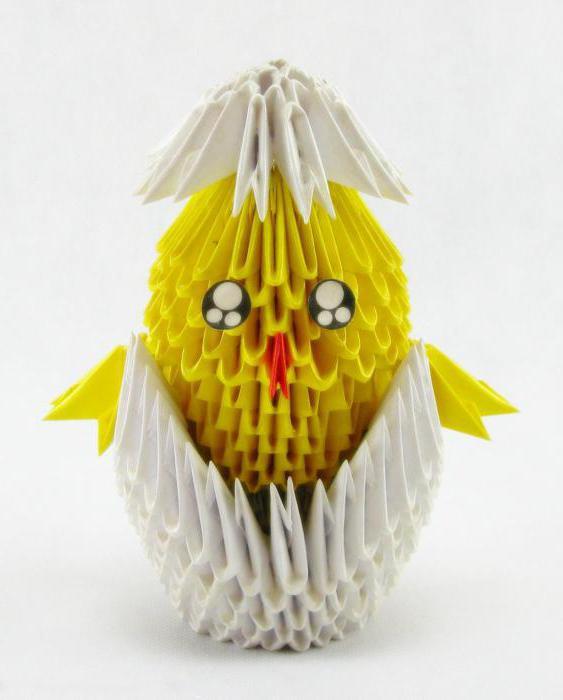 цыпленок модульное оригами схема