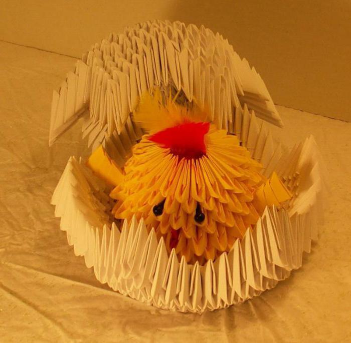 модульное оригами цыпленка