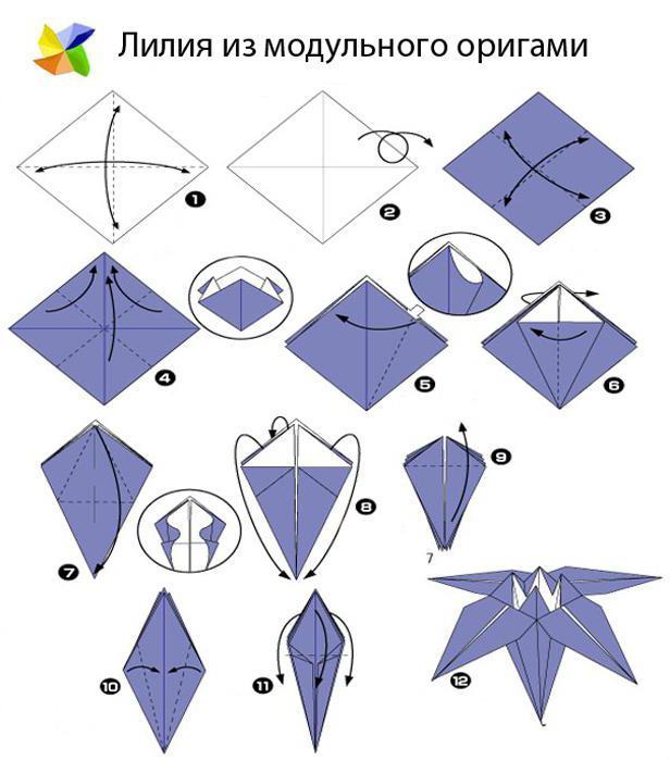 роза оригами модульное