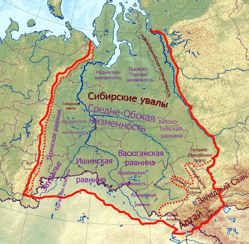ишимская равнина на карте