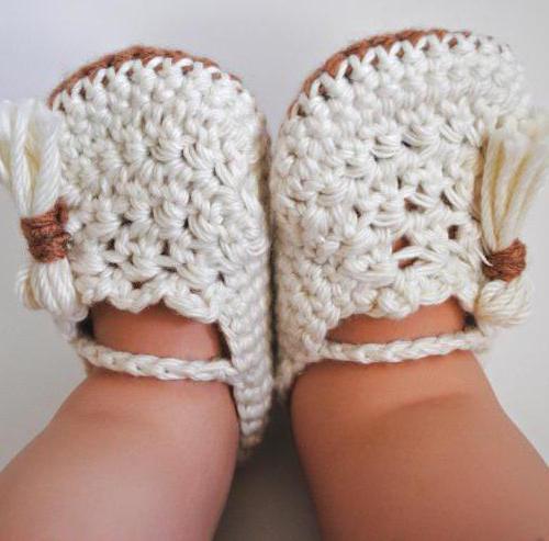 крючком пинетки туфельки