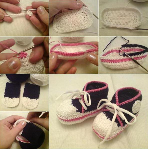как связать пинетки туфельки