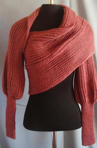 вязание шарфа трансформера спицами