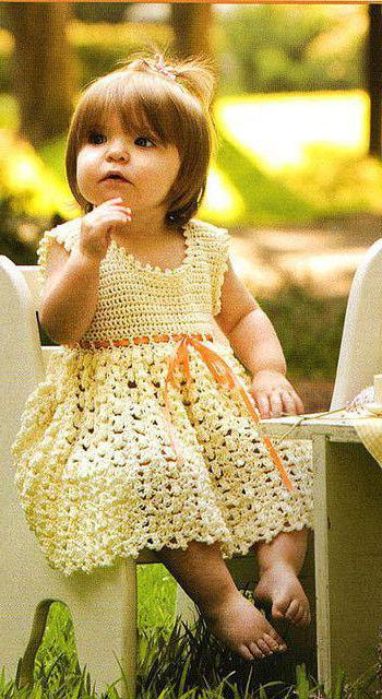 вязание кокетки детского платья крючком
