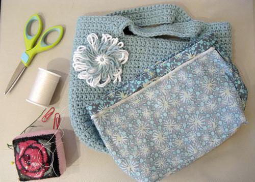 сумка крючком и подкладка из ткани