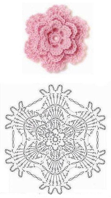 как вязать крючком розу