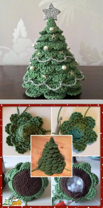 как связать новогоднюю елку крючком