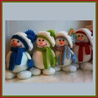 вязаные снеговики спицами мастер класс