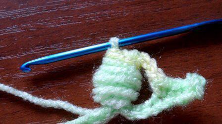 завершение вязания пышного столбика