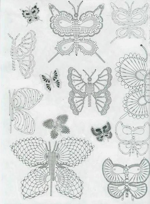 Схема бабочки крючком с описанием