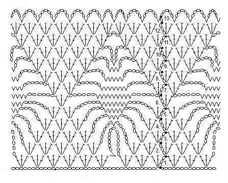 схема узора паучки крючком