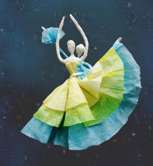 Как сделать балерину из проволоки и салфеток своими руками