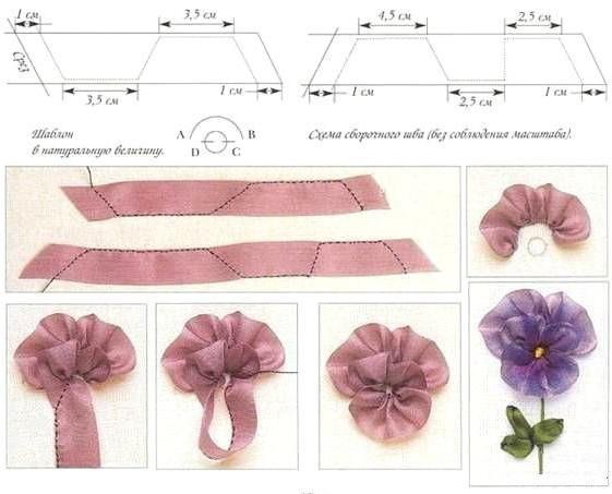 как сделать цветы из лент