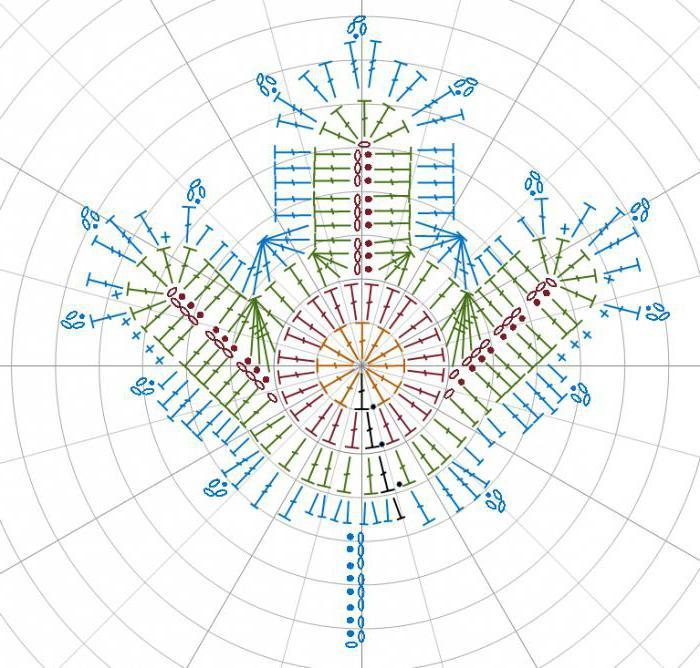 схема кленового листа крючком