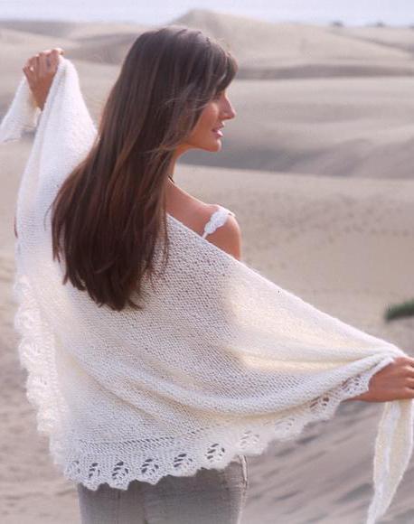 схема вязания пухового платка спицами платочной вязкой
