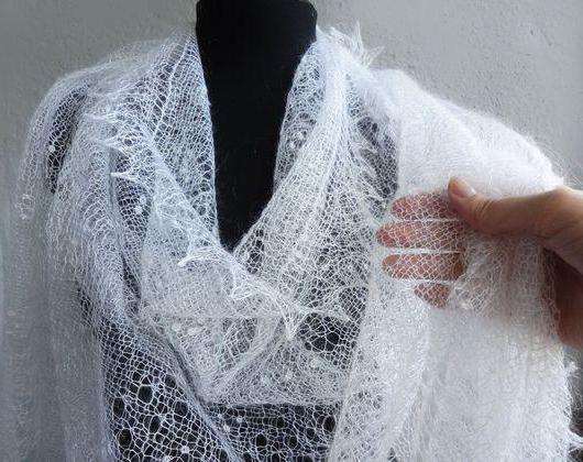 пуховый платок паутинка схема вязания спицами