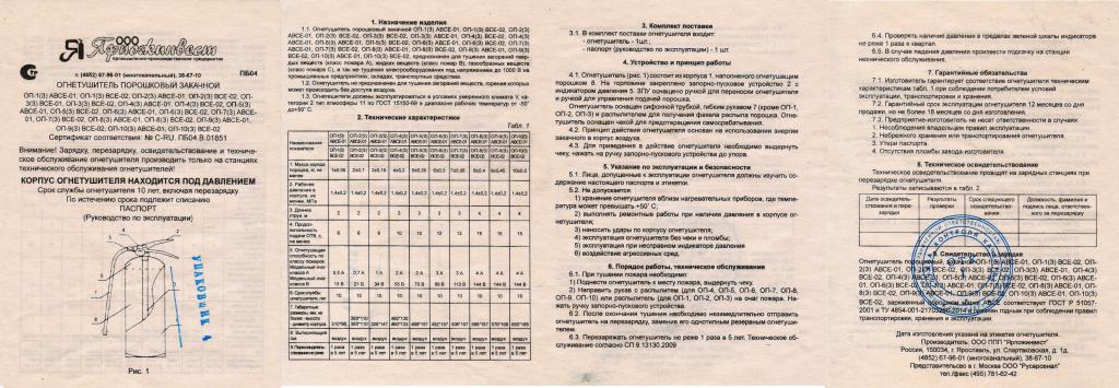 бирка на огнетушитель технический паспорт
