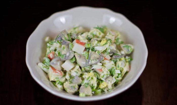 салат с груздями солеными и рисом