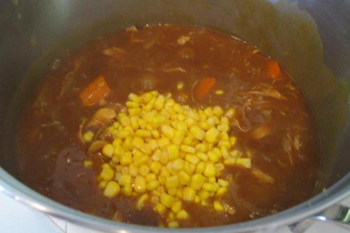 Рецепт: Суп картофельный с консервированной кукурузой на