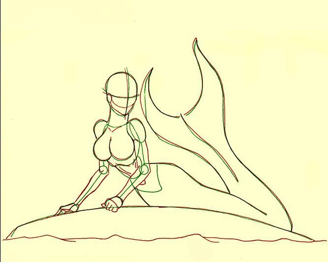 как рисовать русалку карандашом поэтапно: