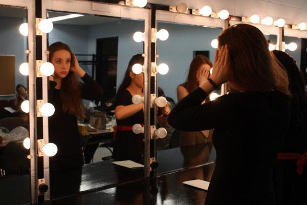 зеркало с лампочками по периметру