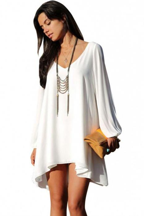 платье свободного кроя с рукавами