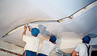 как снять установить натяжной потолок