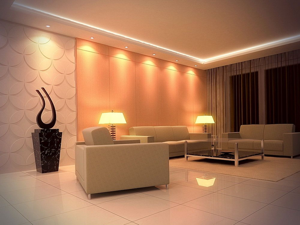 Освещение в гостиной с натяжными потолками: идеи и варианты, способы монтажа, фото, советы дизайнеров