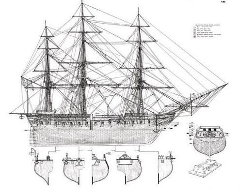модель парусного корабля из дерева