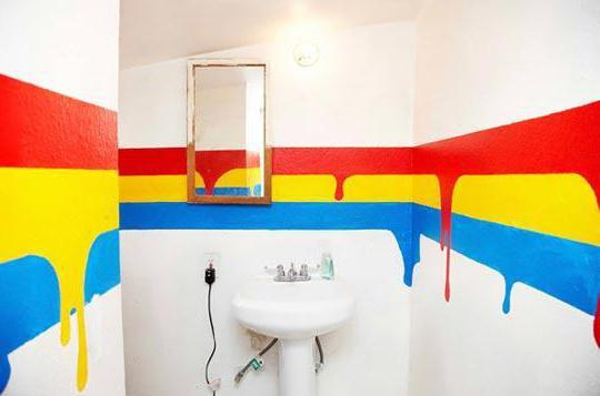 дизайн покраски стен ванной