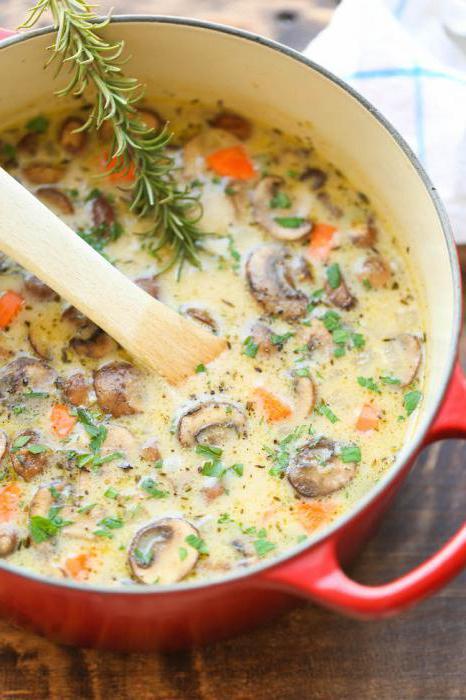 сырный суп с курицей с грибами рецепт