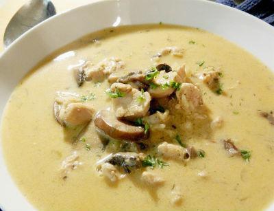 сырный суп с курицей с грибами фото