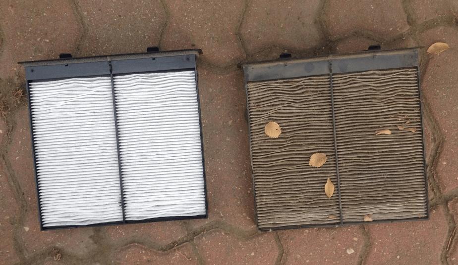 Чистый и грязный салонный воздушный фильтр