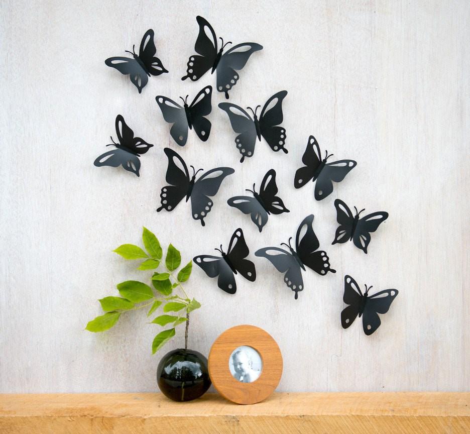 Черные бабочки на стене: интересные идеи декора