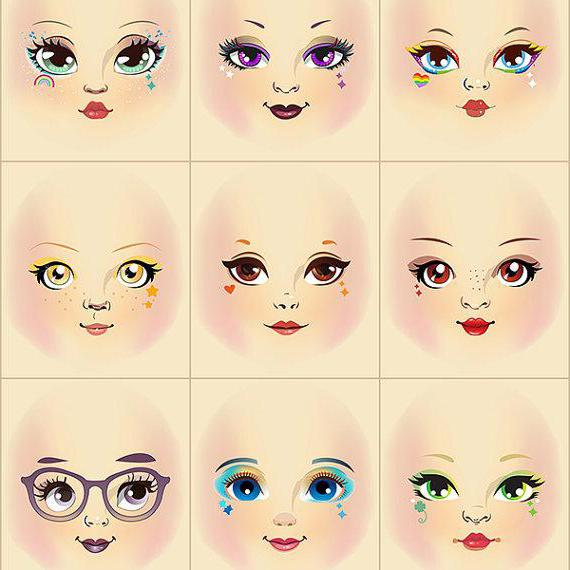 Рисунки кукольных лиц