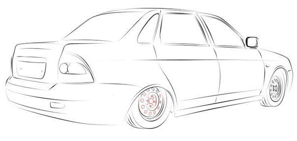 как нарисовать машину лада приора поэтапно