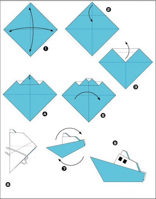 корабль оригами схема