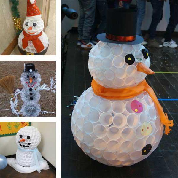 как сделать снеговика из пластиковых стаканчиков своими руками