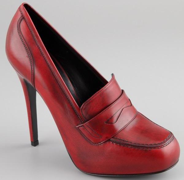 туфли лоферы на каблуке