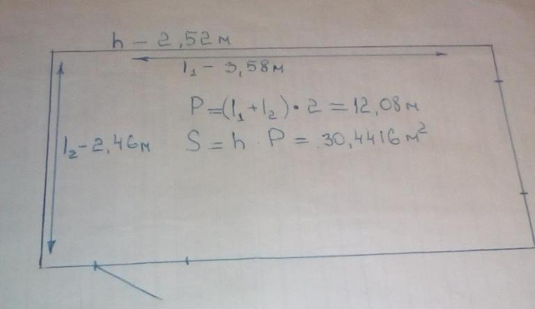 Calculation of the area of a rectangular room