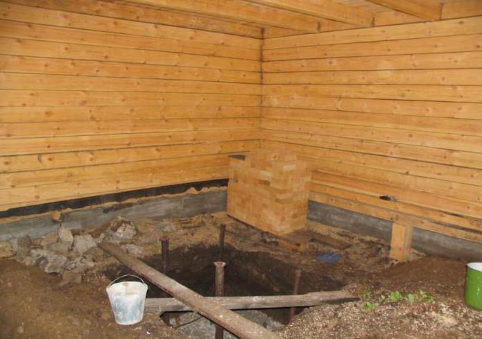 деревянный фундамент под печь