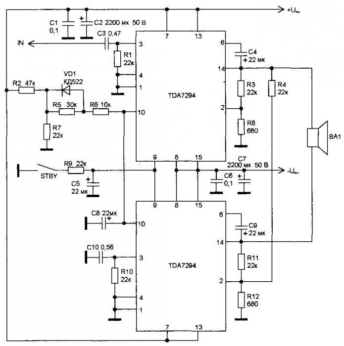 усилитель на микросхеме tda7294 схема