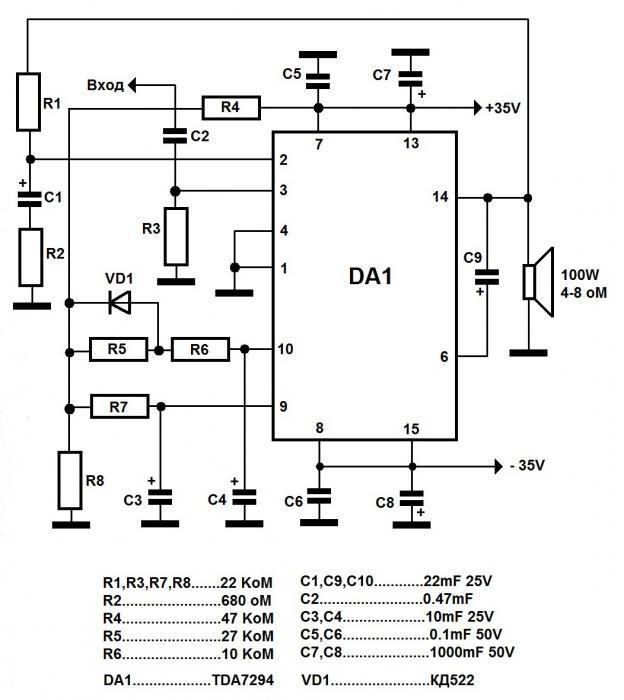 TDA7294 схема усилителя