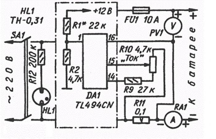 самодельное зарядное устройство для автомобильного аккумулятора схемы